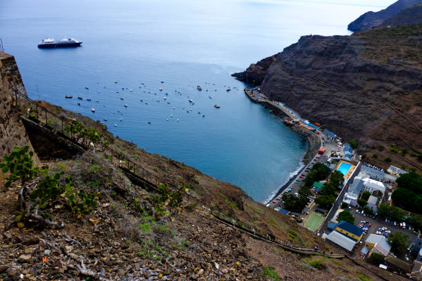 View down Jacobs Ladder St Helena stock photo