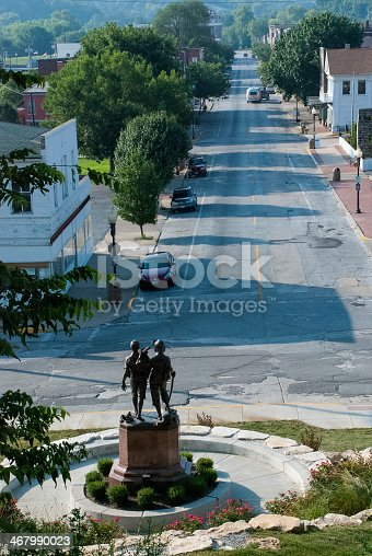 View down Main Street Hannibal Missouri from hillside near the Huckleberry Finn and Tom Sawyer monument.