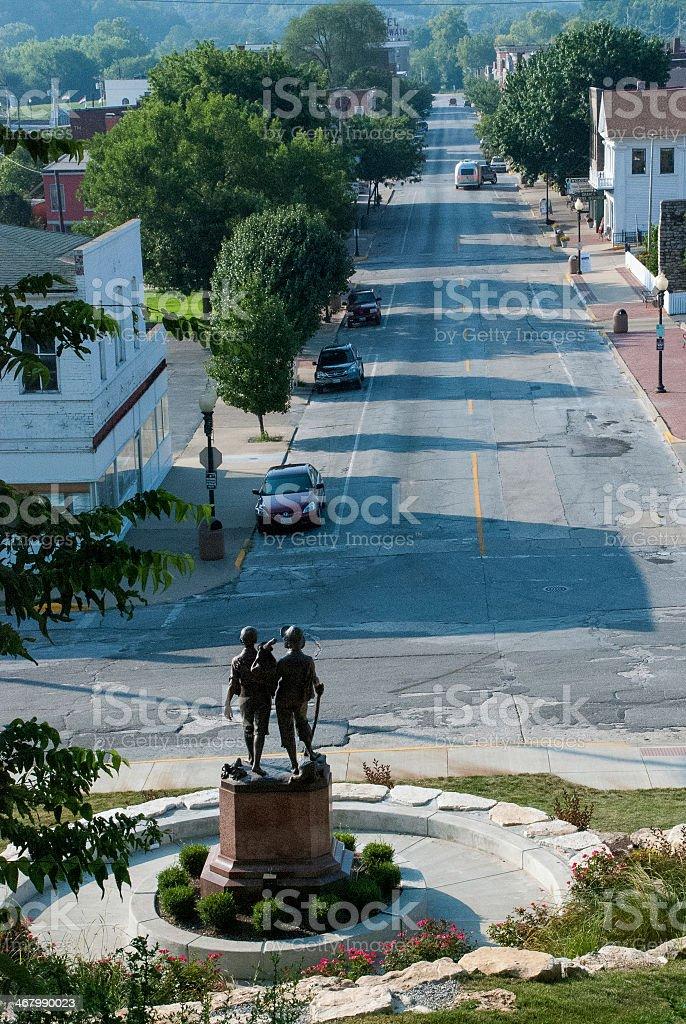 View down Main Street Hannibal Missouri stock photo