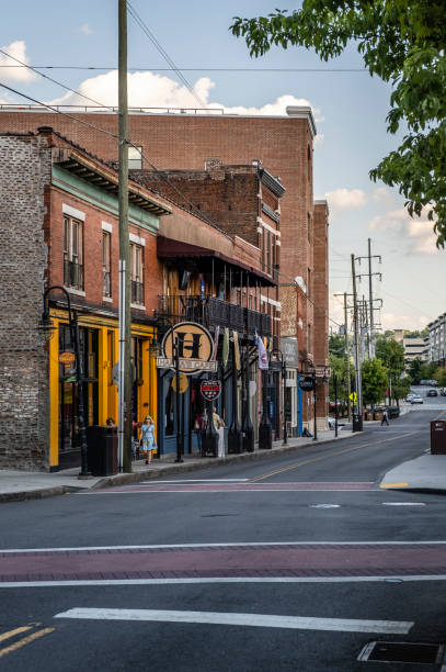 View Down North Central Street in Knoxville stock photo