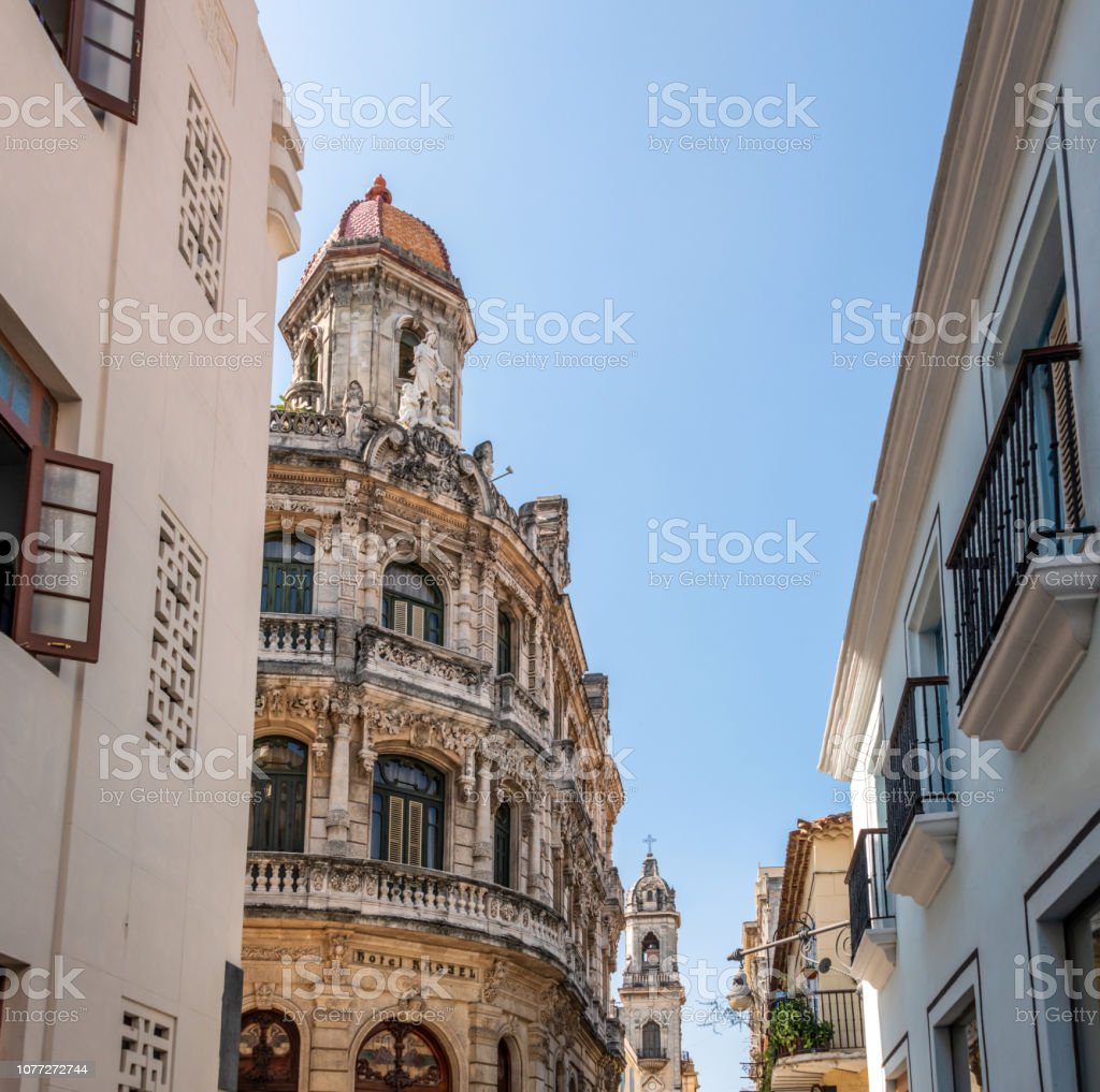 View down street of old buildings in old town Havana, Cuba stock photo