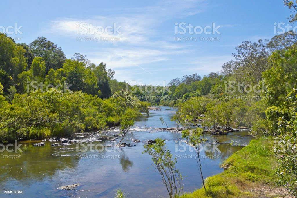 View down The Barron River in Tropical North Queensland stock photo