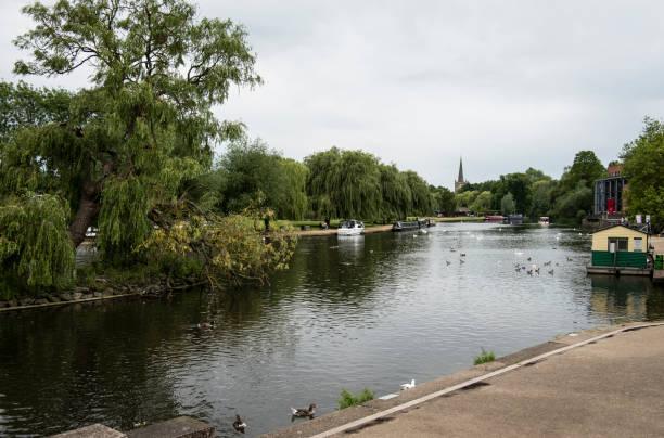 View Down the River Avon in Stratford-upon-Avon stock photo