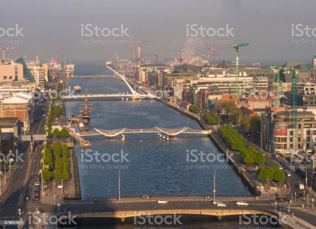 View down the river liffey, Dublin, Ireland. stock photo