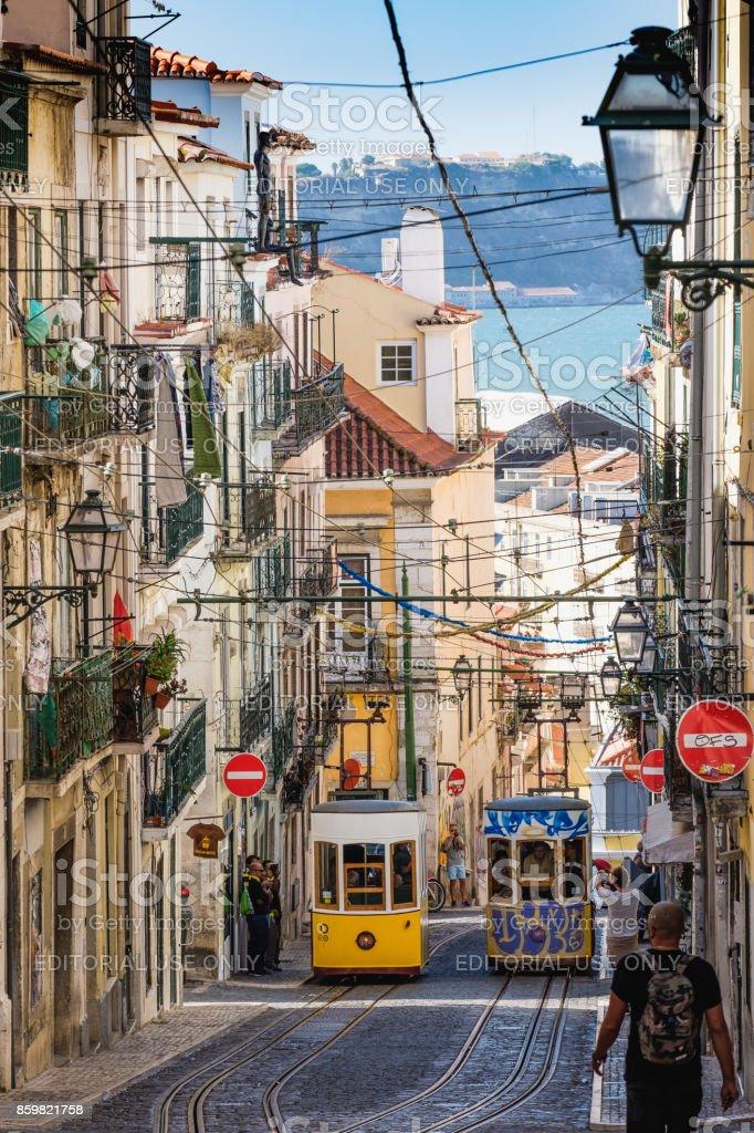 View down the the Ascensor da Bica in Lisbon stock photo