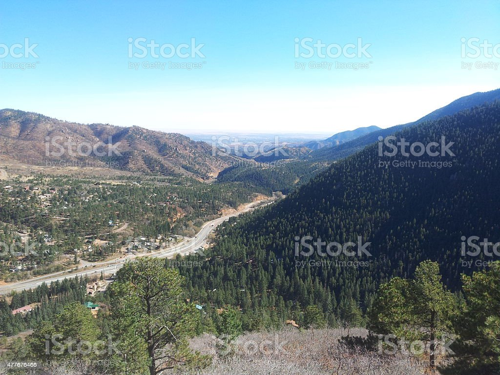 View driving up Pikes Peak royalty-free stock photo