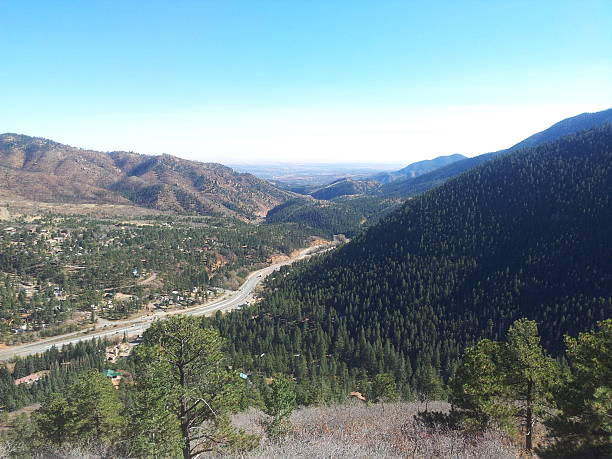 View driving up Pikes Peak stock photo
