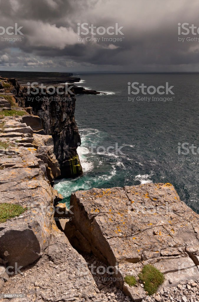 View east, southeast from the Cliff Edge of the Ancient fort wall of Dun Aonghasa (Dun Aengus), Inishmore, Aran Islands, County Galway, Ireland stock photo