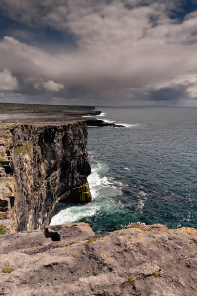 View east, southeast from the Cliff Edge of the Ancient fort wall of Dun Aonghasa (Dun Aengus) with Sea Campion, Inishmore, Aran Islands, County Galway, Ireland Breaking waves,  turquoise sea below the dramatic cliffs of the ancient fort Dun Aonghasa (Dun Aengus), in the distance the karst landscape of Inishmore with clouds of an approaching storm over Galway Bay.  Aran Islands, County Galway, Ireland. michael stephen wills aran stock pictures, royalty-free photos & images