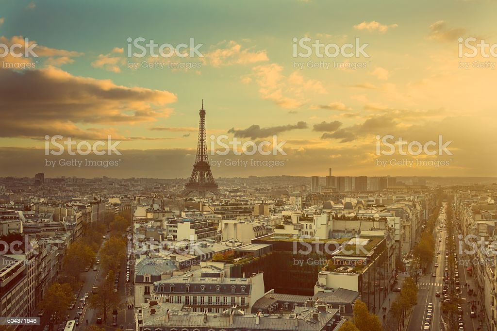 View Eiffel Tower from Arc of Triophe. Toned Image stock photo
