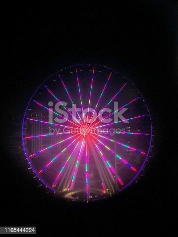 The Ferris wheel through a view finder lens on pier 66.