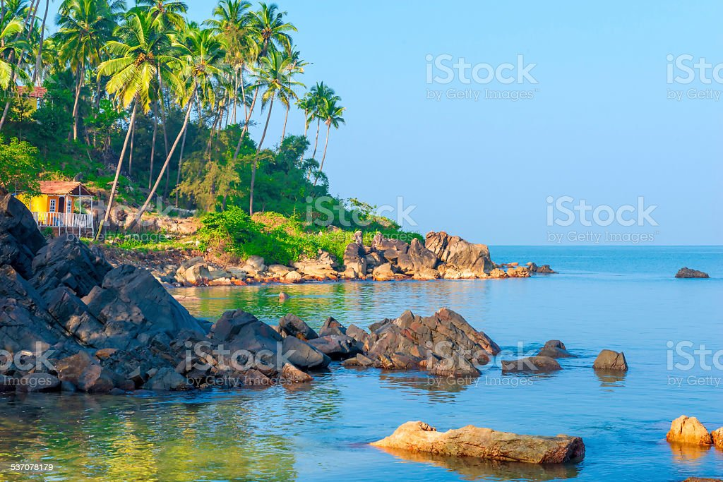view for greeting card beach in Goa stock photo