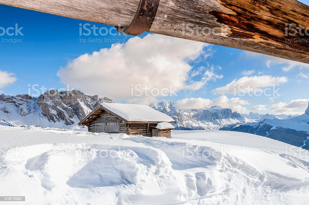 View for wooden house in Dolomite mountain stock photo