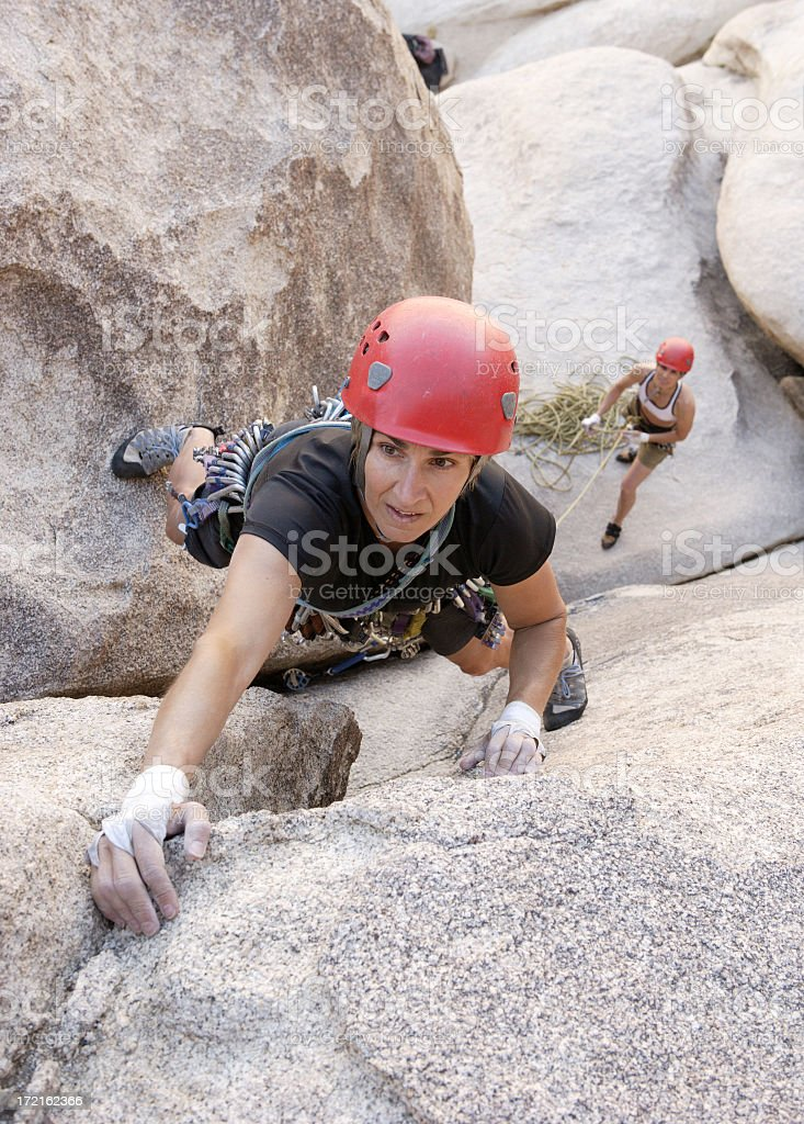 View form above of female rock climbers at Joshua Tree royalty-free stock photo