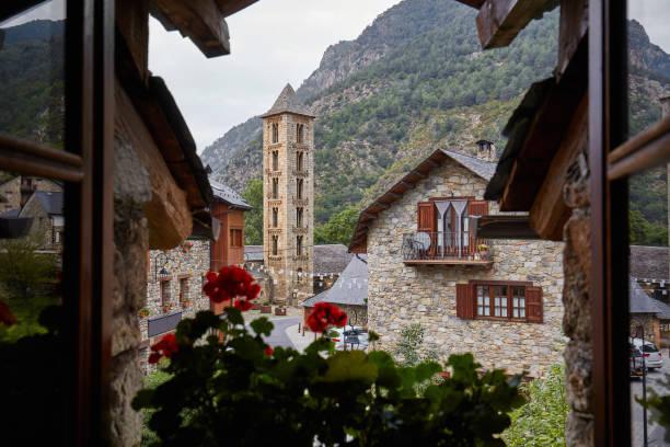 view form the window to a romanesque village at vall de boi, catalunya, spain - lleida стоковые фото и изображения