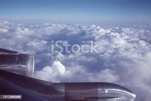 Airplane, 1977. View from a Boeing 707 during a flight above the clouds.