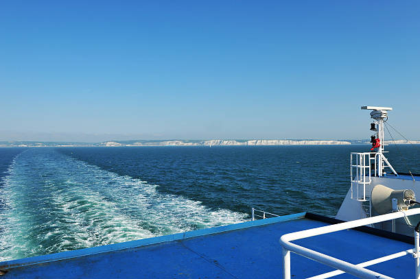 view from a car ferry sailing between england and france - english channel stock pictures, royalty-free photos & images