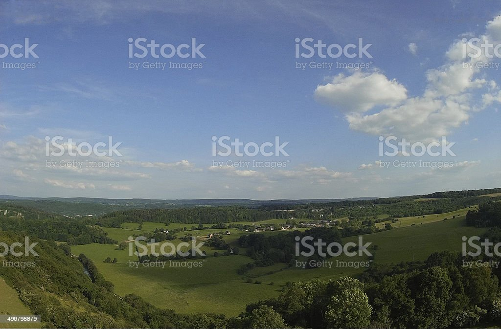 View from a drone on the Ourthe valley stock photo
