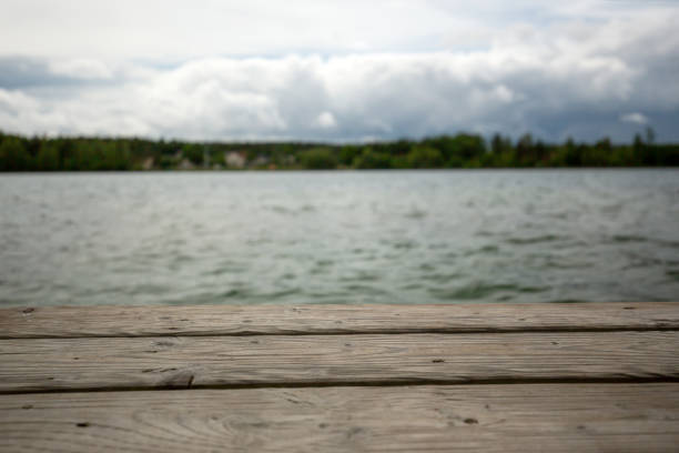View from a jetty at the lake on the sky stock photo