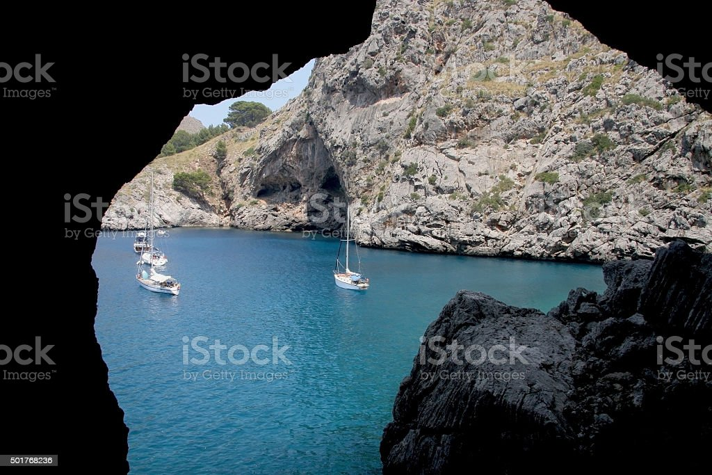 View from a  mediterranean cove stock photo