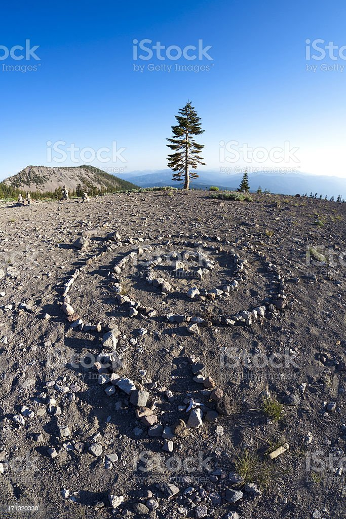 A view from a plateau with healing spirals on the ground royalty-free stock photo
