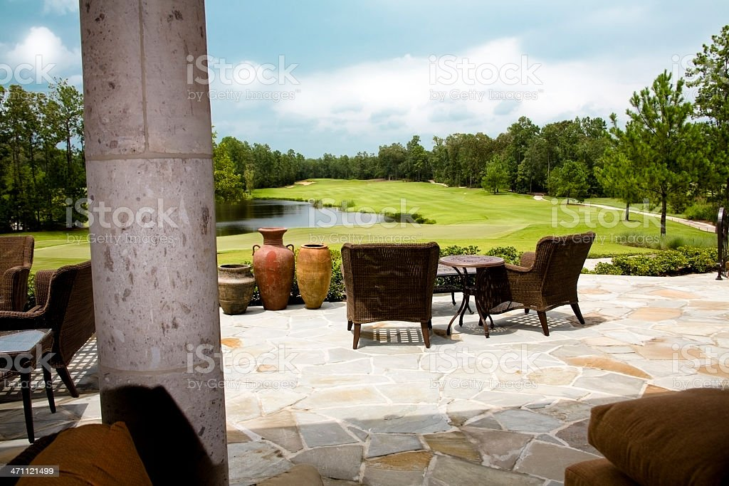 View from a resort porch of pond and golf course. royalty-free stock photo
