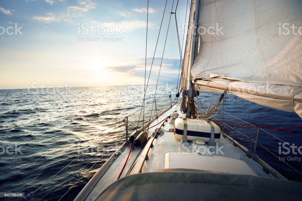 View from a sailboat, tilted by the wind stock photo