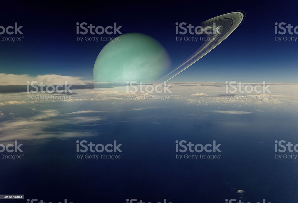 View from a satellite in orbit around ringed planet. stock photo