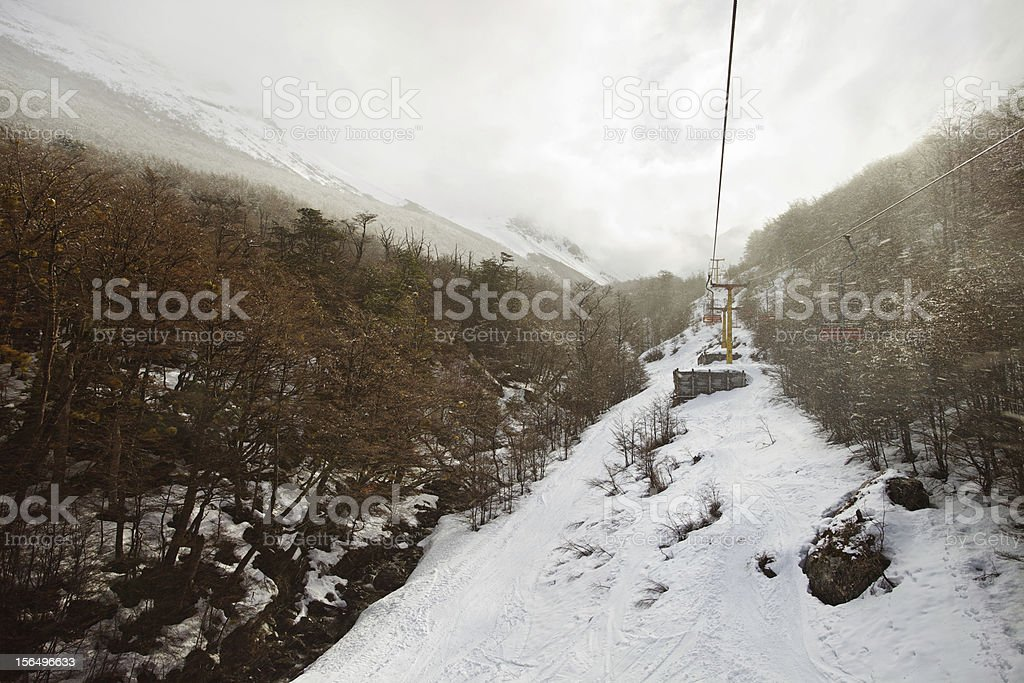 View From a Ski Lift in the Snow stock photo