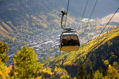 A gondola at Telluride Mountain in Colorado during fall colors