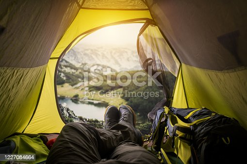 497486952 istock photo View from a tent. Sport and active life concept. 1227084664