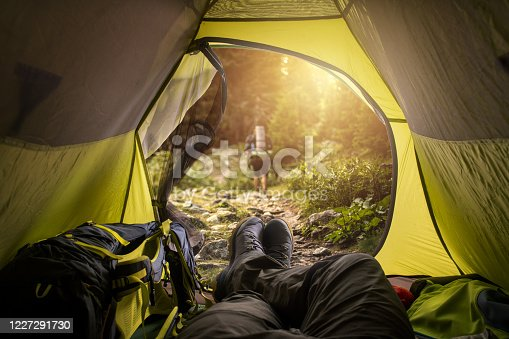 497486952 istock photo View from a tent. Sport and active life concept. 1227291730
