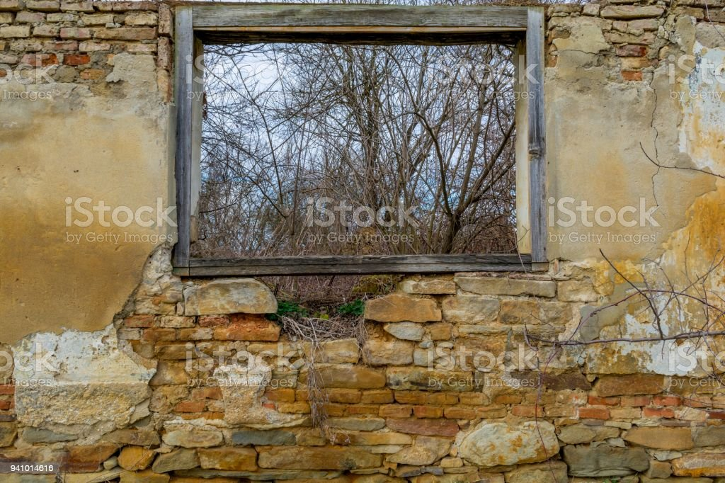 View from a wood window of an old ruin house near the forest. stock photo