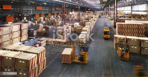 View From Above Inside A Busy Huge Industrial Warehouse Stock Photo & More Pictures of Aisle
