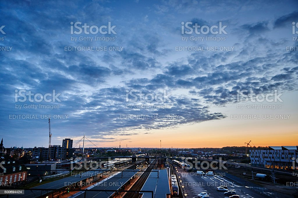 View from above Odense Railway station by night stock photo