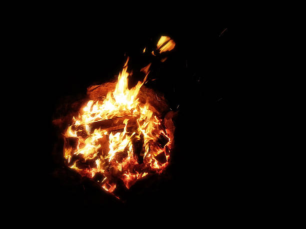 View from above of a bonfire stock photo