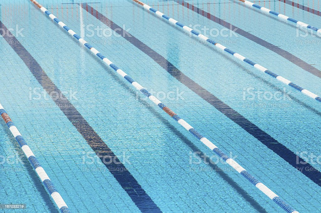 view from above of an empty olympic swimming pool royalty free stock photo - Olympic Swimming Pool Top View