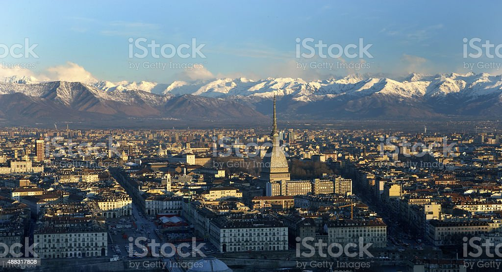 View from above of downtown Turin, snowy mountains on background stock photo