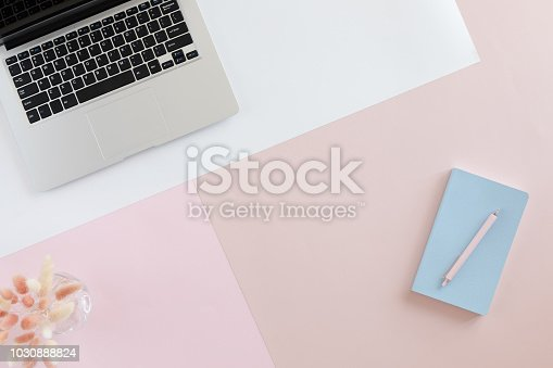 View from above of home office desk with laptop, flowers and leaves on pastel pink background. Blog, website or social media concept .