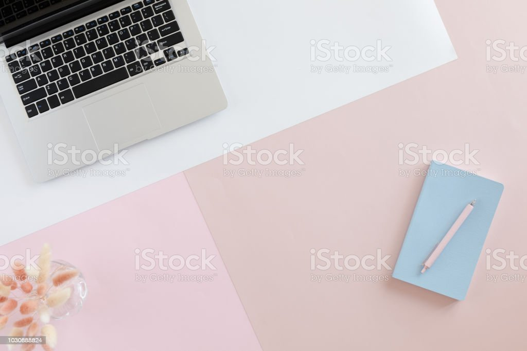 View from above of home office desk with laptop, flowers and leaves on pastel pink background. Blog, website or social media concept stock photo