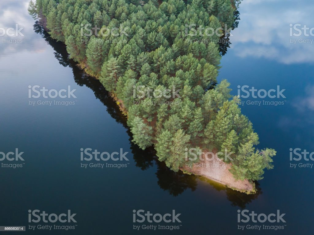 View from above of island in the beautiful blue lake stock photo