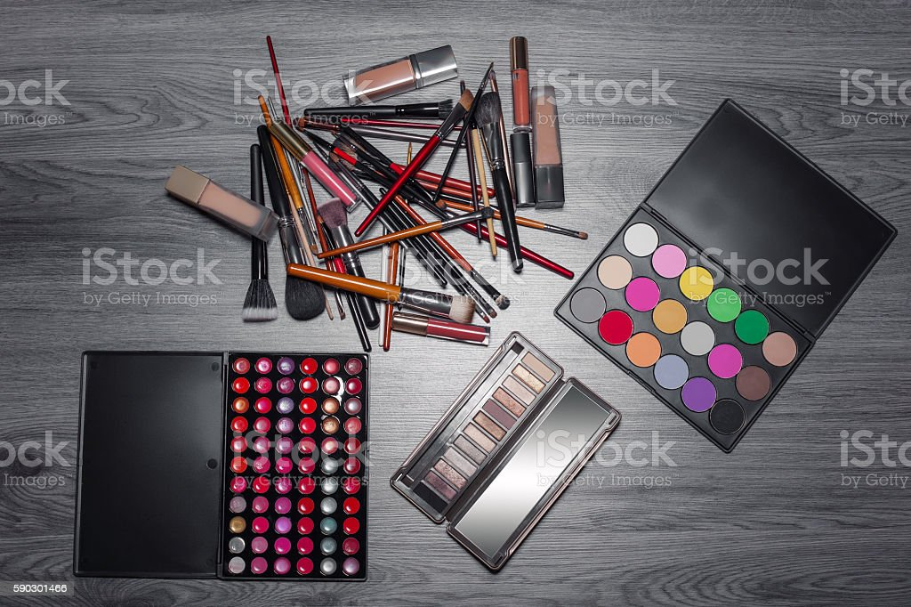 view from above of make up cosmetics set; royaltyfri bildbanksbilder