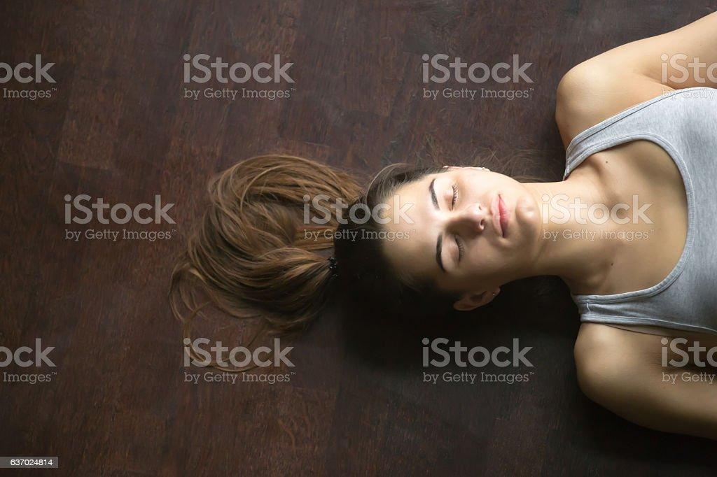 View from above of Savasana yoga posture stock photo