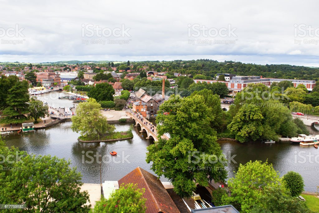 View from above of Stratford-Upon-Avon stock photo