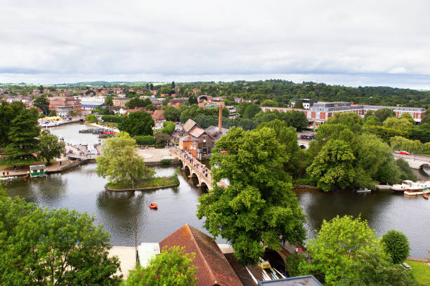 view from above of stratford-upon-avon - est foto e immagini stock