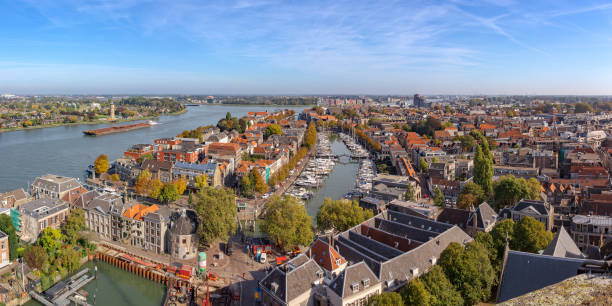 View from above of the inner city of the town of Dordrecht, Nieuwe haven Panoramic cityscape of the city of Dordrecht from the Grote Kerk tower on a sunny autumn day meuse river stock pictures, royalty-free photos & images