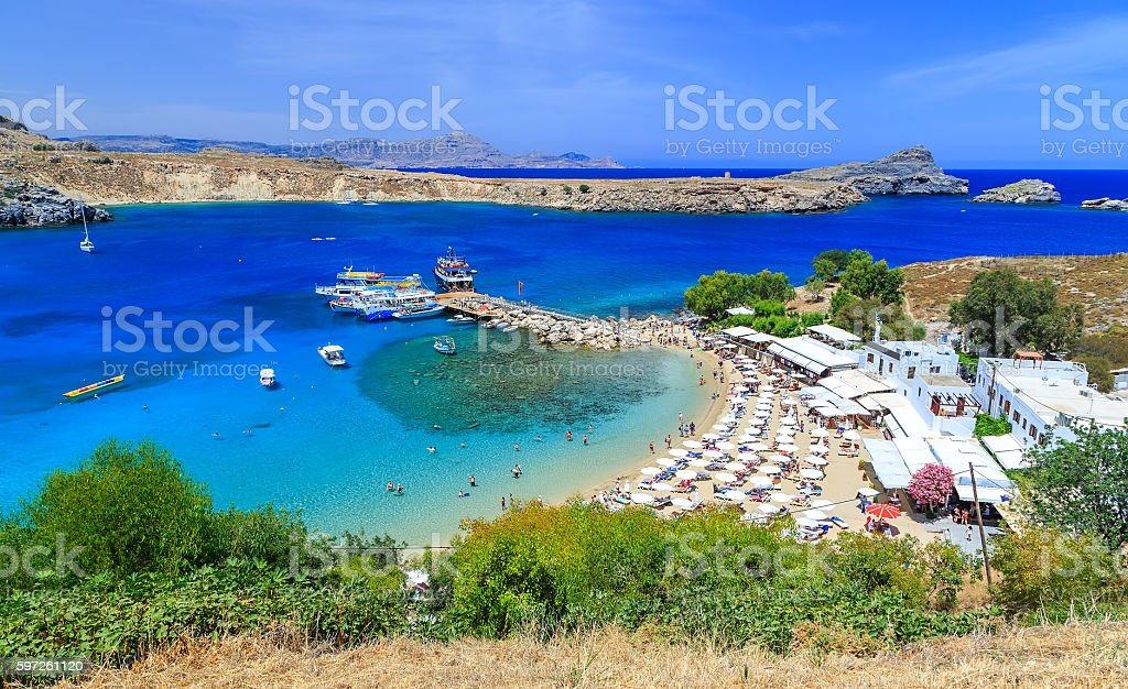 View from above of the main beach in Lindos stock photo