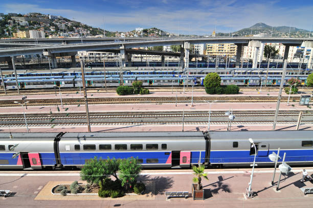 View from Above of the Nice Ville train station and TGV Trains in Nice, Cote d'Azur, France. View from Above of the Nice Ville train station and TGV Trains in Nice, Cote d'Azur, France. ville stock pictures, royalty-free photos & images