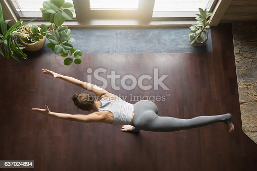 istock View from above of virabhadrasana 3 yoga Pose 637024894