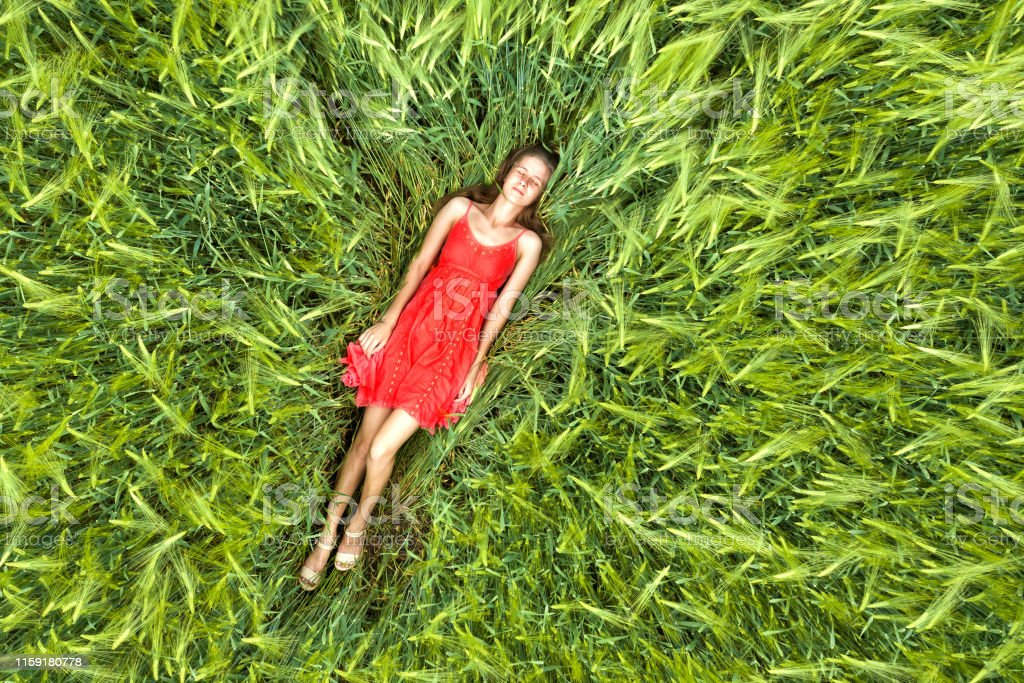 View from above of young attractive slim woman in red dress laying...